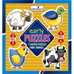 Early Puzzles - Farm Animals — a set of 4 Shaped Puzzles to sharpen the child's Visual Recoginition Skills, Powers of Concentration, Eye-Hand Coordination and Understanding of Size.