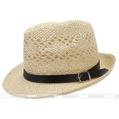 Summer Beach Hats Trilby Floppy Fedora Straw Wide Brim Sun Hat For Men Women #02