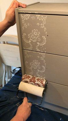 Stencilled furniture Dickson Vintage Roller stencilling using Chalk Paint Hutch Furniture, Diy Furniture Renovation, Chalk Paint Furniture, Refurbished Furniture, Upcycled Furniture, Furniture Projects, Furniture Makeover, Furniture Legs, Barbie Furniture