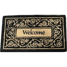 Welcome Heavy Duty Coir Doormat 17 By 28 Inches by Abbott. $26.99. Classic black and white motif. For use at any door of the house. Heavy duty coir. The word Welcome is surrounded by cream colored scroll work on a black background. Measures 17 by 28 inches. A nice heavy duty coir mat with a classic black and white motif with the word Welcome in the center. Use at the front door, back door, or any door!