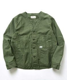fennica(フェニカ)の【予約】<Women's>orslow×fennica / Railroad jacket(ノーカラージャケット) オリーブ