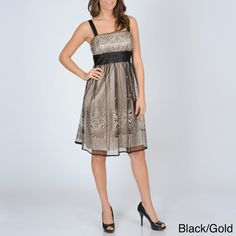 @Overstock - A contrast cummerbund sash creates the empire waistline and ties in the back of this stylish R & M Richards dress. This party dress is fashioned with a mesh overlay with medallion glitter pattern and mosaic tile glitter accents.   http://www.overstock.com/Clothing-Shoes/R-M-Richards-Womens-Mesh-Overlay-Party-Dress/7492364/product.html?CID=214117 $68.99