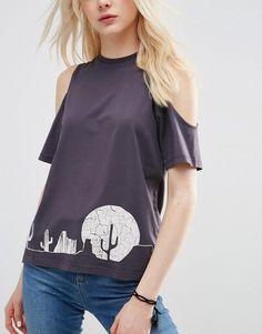Imagen 3 de Camiseta con hombros descubiertos y estampado de cactus de ASOS