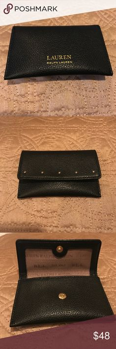 NWOT 💋🛍♥️ Ralph Lauren ID/card holder Beautiful black with gold studs on front 💋🛍 snap closure ..never used ✨🔥♥️ keep everything stylishly at hand !!! Lauren Ralph Lauren Bags