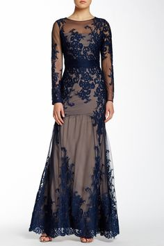 Sheer Sleeve Lace Fishtail Gown by Marchesa Notte on @nordstrom_rack