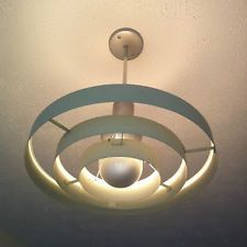 Retro Mid-century 3-Ring Saturn Pendant Lamp, c1950.  These are still in every old church multipurpose rooms!