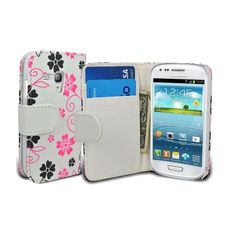 Leather Style Designer Flower Pink and Black Wallet Case for Samsung Galaxy S3 Mini - White £4.95