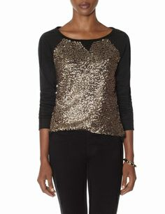 Black sweatshirt with gold sequins, the softest top ever!