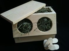 Rabbit Hay Box Free Chew/Toss Toy included by TheBlissfulBunny Rabbit Feeder, Rabbit Toys, Guinea Pigs, Bunny, Treats, Wool, Natural, Easy, Rabbits