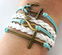 Sweet Mint Anchor bracelet --anchor, infinity, cross:  i love this!