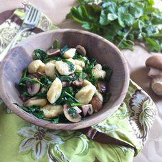 Gnocchi with Spring Greens & Crimini Mushrooms   Teaspoonofspice.com