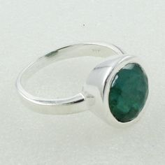 Emerald Agate Stone Beautiful Shaped 925 Sterling Silver Ring by JaipurSilverIndia on Etsy