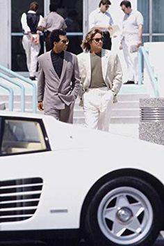 Miami Vice Don Johnson Philip Michael Thomas with white Ferrari Testarossa Poster