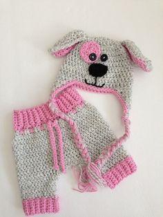 Crochet Hat and Pants Newborn Boy Girl Grey Pink Dog Photo Prop