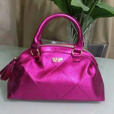 Victoria's secret bag Great condition. Metallic  Fuscia pink color. Top zipper closure. Victoria's Secret Bags