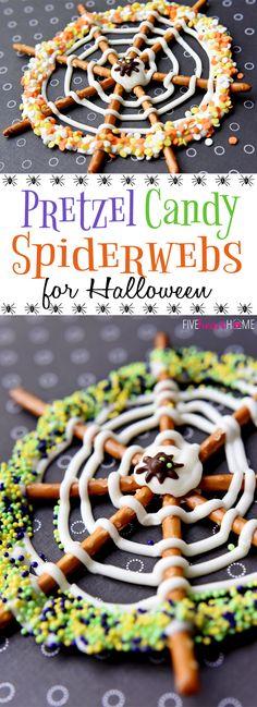 Pretzel Candy Spiderwebs for Halloween