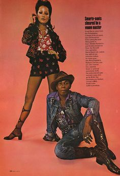 Scott Barrie, fashion designer in suit designed by himself and model Barbara Carrera in Barrie (Herbert Levine boots) 70s Mode, 70s Outfits, Vintage Black Glamour, Look Magazine, Vintage Mode, Vintage Style, Vintage Fashion, 70s Black Fashion, 60s Mod Fashion