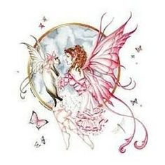 Fairy Garden Decals. www.teeliesfairygarden.com . . . Romantic fairy holds the gift–a fairy Siamese! Butterflies and dragonflies fly about on a clear ground. #fairydecals