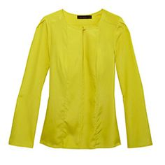 This delicate, silky top, with its keyhole neckline, flared sleeves and cheery canary color, can add a dose of summery energy to dark jeans and shirts this fall.