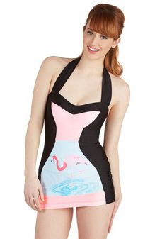 Flamingo to the Shore One-Piece Swimsuit in Bird. Youve always been drawn to the sand and the surf, and when you get to take your annual trip away, you wear this halter one piece swimsuit by Fables by Barrie! #multi #modcloth