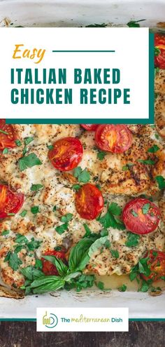 You'll love this healthy, juicy Italian Baked Chicken Recipe. Boneless skinless chicken breasts prepared with a simple spice mixture, garlic and olive oil, and finished with fresh parsley and basil! Italian Baked Chicken, Easy Baked Chicken, Baked Chicken Breast, Quick Chicken Recipes, Mediterranean Dishes, Everyday Food, Food Dishes, The Best, Cooking Recipes