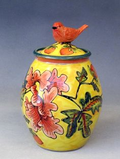 Lucky Rabbit Pottery (Deb Kuzyk Ray Mackie) ___yellow lidded jar with peony, 2013,
