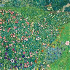 Gustav Klimt. Italian Garden Landscape. 1913 Klimt spent the summer together w/friends in Italy, on Lake Garda, the gardens of Albergho Morandi, a well known boarding-house opposite of Malcesine, are regarded as reference for the 'Italian Garden'