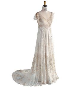 Vintage Bridal Gown : Antique handmade Belgian lace wedding dress