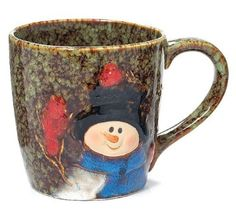 Christmas Snowman 18 oz Porcelain Coffee Mug with Red Birds: Home & Kitchen