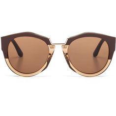 Marni Eyewear (€375) ❤ liked on Polyvore featuring accessories, eyewear, sunglasses, glasses, óculos, brown, marni sunglasses, see through glasses, round sunglasses and brown sunglasses