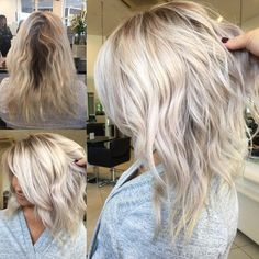 Refresh ✨ full head Babylights using then toning with roots ends finishing with Medium Blonde Hair, Balayage Hair Blonde, Medium Hair Styles, Curly Hair Styles, Lob Hairstyle, Hair Color And Cut, Hair 2018, Great Hair, Hair Dos