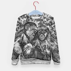 AnimalArtBW_Chimpanzee_001_by_JAMFoto Kid's sweater
