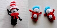 Cat in the Hat and Thing 1 and Thing 2 pipecleaner crafts