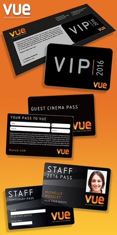 The PD Group has provided design, artwork and print for all the new staff and guest passes for Vue cinemas. Matt black finish, with a special silver on the front, as well as a spot UV on the Vue logo...beautiful!