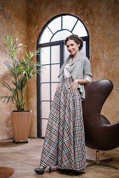 Long skirt/cotton skirt/Maxi skirt/Plaid skirt/Tartan skirt