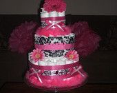 Made this one for a friend's shower hot pink and damask baby shower theme
