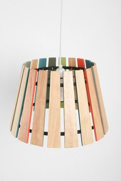 Affordable Design : Spectrum Pendant Shade from Urban Outfitters Eclectic Lamp Shades, Eclectic Lamps, Paint Stirrers, Wooden Ruler, Painted Sticks, Lamp Design, Lampshades, A Table, Dining Table