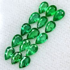 2.76 Cts Natural Top Rich Green Emerald Pear Cut Lot Untreated Zambia 5x3 mm Gem