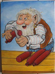 """""""Selånger Marknad """", handpainted by Anneke Legeer , the Netherlands, naar voorbeeld van Rolf Lidberg. Kobold, Elves And Fairies, Beautiful Forest, Cartoon Characters, Fictional Characters, Gremlins, Goblin, Easy Drawings, Gnomes"""