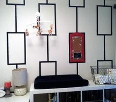 DIY black and white stenciled wall - #nursery #DIY