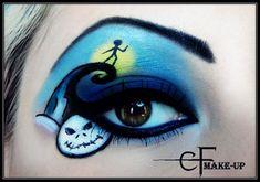 Nightmare before Christmas eyeshadow art – Toptrendpin Disney Eye Makeup, Movie Makeup, Eye Makeup Art, Eye Art, Skull Makeup, Halloween Eye Makeup, Maquillage Halloween, Halloween Make Up, Halloween Ideas