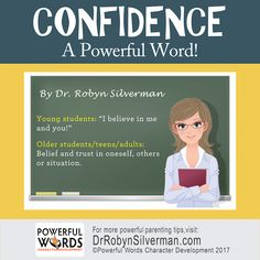 "This month, we'll be teaching our students about the Powerful Word ""Confidence! Kids And Parenting, Parenting Hacks, Conversation Starters For Kids, Social Skills For Kids, Kid President, Emotional Child, Kids Mental Health, English Writing Skills, Christian Kids"