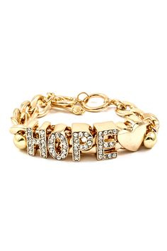 Hope Charm Bracelet on Emma Stine Limited Fashion Jewelry Necklaces, I Love Jewelry, Fashion Earrings, Jewelry Sets, Jewelry Bracelets, Jewelry Accessories, Fashion Accessories, Bangles, The Bling Ring