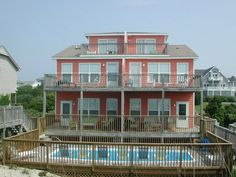 Gull Cottage Both - 10 bedrooms, 6 baths Duplex, both sides, no interior connecting door. Swimming pool, covered and open decks with porch furniture, outdoor grills, enclosed hot/cold outside showers. 50 ft. oceanfront dune deck with benches, covered gazebo.  And it's pet friendly!