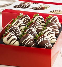 Fannie May Decadent Chocolate Covered Strawberries- Milk chocolate with white chocolate drizzle, White chocolate with milk chocolate drizzle, Dark chocolate with white chocolate drizzle $29.99- $49.99 #chocolatecoveredstrawberries #strawberries #milkchocolate