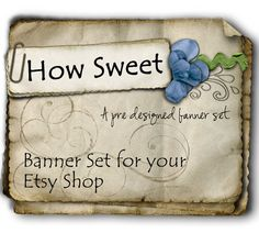 Etsy Shop Banner - How Sweet Design Set in Natural Blues - banners, profile picture, avatar, reserved & special order