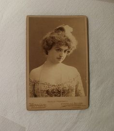 """Antique Cabinet Card / Actress Marcia Treadwell / """"Hearts are Trumps"""" Play / Boston Museum December 1900"""
