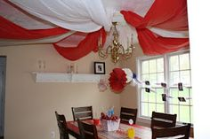 """A way to create your own """"big top"""" from within. Just drape tulle (or other fabric) to a centerpiece/chandelier!"""