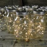 Mason jars with battery-powered twinkle lights inside. Perfect for the staircase at RLI.