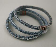 Three denim bracelets - upcycled scrap fabric bracelet - repurposed jeans - bangles - made to order in your size and thread colors 3 three upcycled denim bracelets - repurposed jean bangles - made to order in your size and thread colors Bracelet Denim, Bracelet Fil, Fabric Bracelets, Fabric Jewelry, Embroidery Bracelets, Pearl Bracelets, Thread Bracelets, Wrap Bracelets, Pandora Bracelets